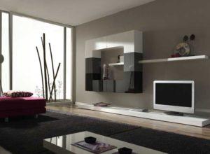 Чёрно-белая гостиная с панорамным окном