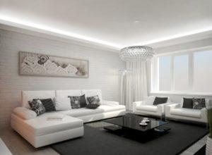 Белая гостиная с тёмным ковром