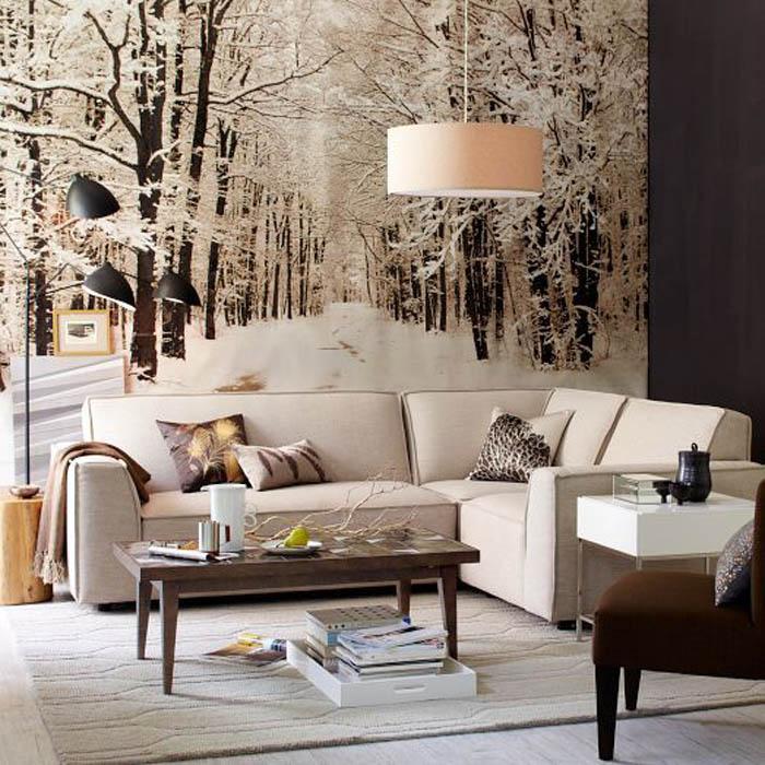 Чёрно-белая гостиная с зимним лесом