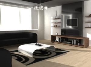 Чёрно-белая гостиная с объёмной люстрой