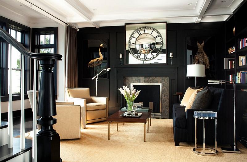 Чёрно-белая гостиная с лаконичной мебелью