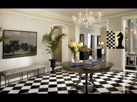 Шахматная чёрно-белая гостиная