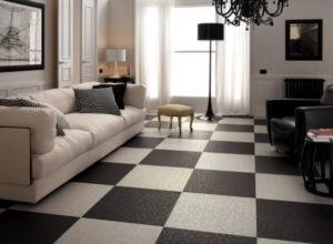 Чёрно-белая гостиная с шахматным полом