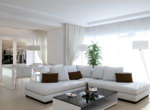 Белая гостиная с чёрным столиком