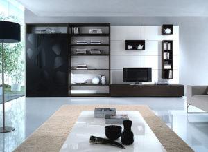 Чёрная мебель на белом фоне