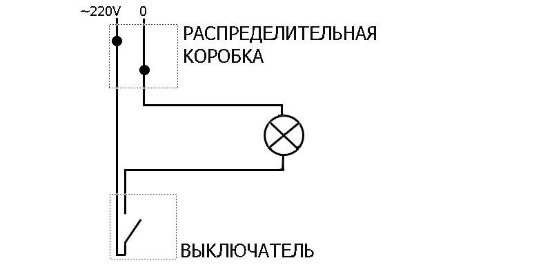 Старая схема подключения выключателя