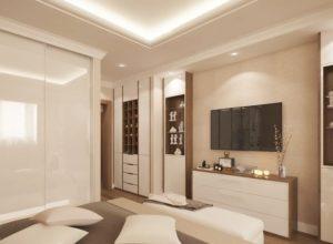 Спальня с гардеробом в коричневом цвете