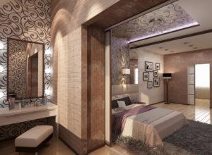 Спальня с гардеробной в пастельных тонах