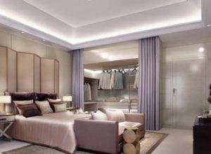 Спальня с гардеробной в светло-фиолетовых тонах