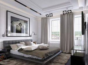 Спальня с гардеробной в тёмном цвете