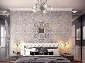 Спальня и гардеробная в сером цвете