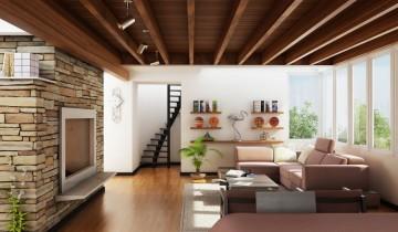 Внутренняя отделка дома: гостиная с камином