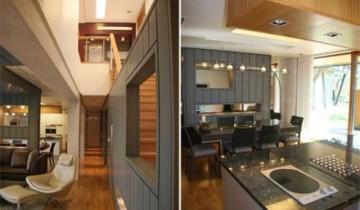 Планировка: кухня, коридор, лестница, гостиная