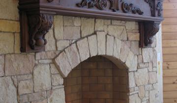 Фото отделки камина термостойким камнем, rustroy.su