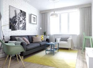 Белый декоративный кирпич в интерьере гостиной