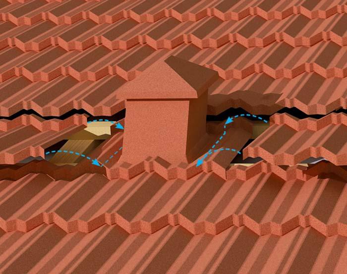 На фото места нанесения герметика при монтаже вентиляции