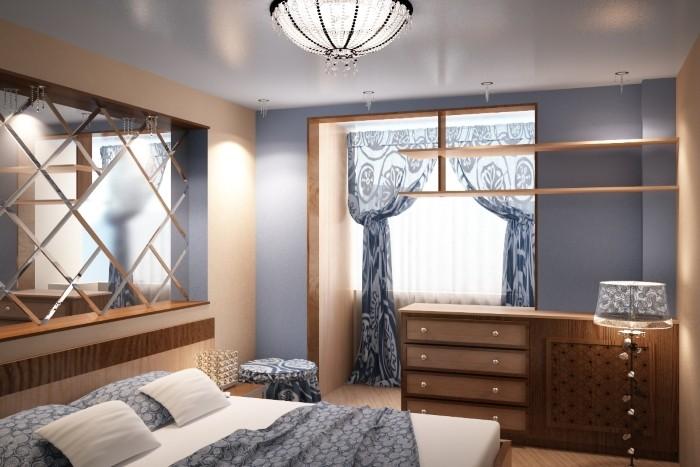 На фото объединение балкона и комнаты