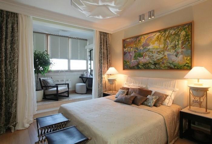 На фото присоединение балкона к комнате