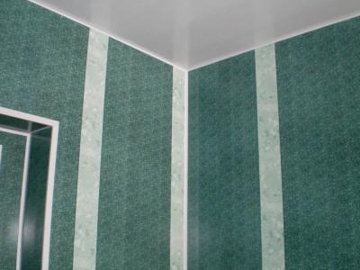 На снимке ванная комната с ПВХ панелями на стенах