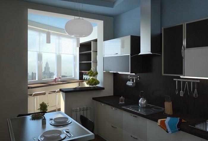 На фотографии кухня объединенная лоджией
