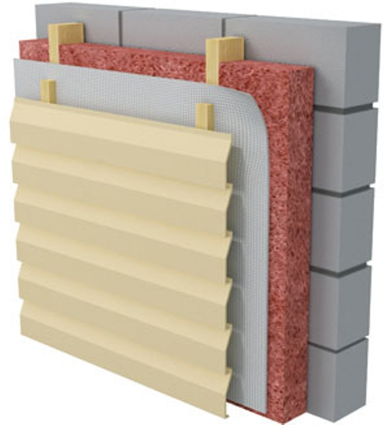 Схема стены при монтаже сайдинга с утеплителем
