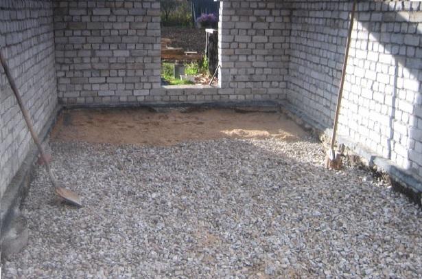 Гравийно-песчаная подушка для гаражного пола
