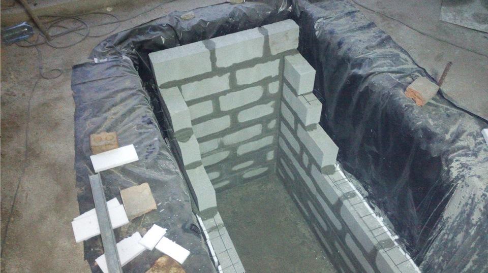 Кирпичная кладка стен смотровой ямы