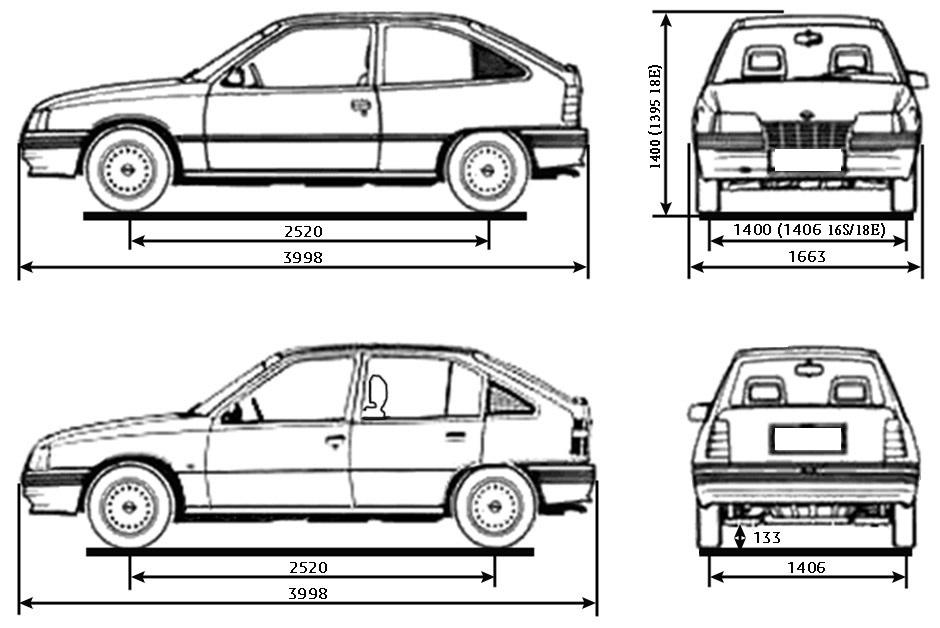Размеры автомобиля Opel Kadett