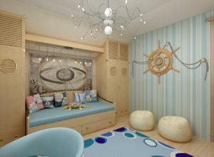 Детская комната девочек в морской стилистике