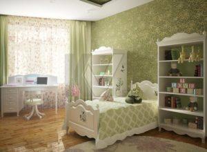 Зеленая детская комната для девочки во французском стиле
