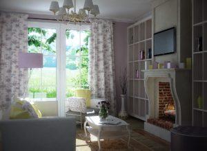 Открытые полки с декором в гостиной в стиле прованс