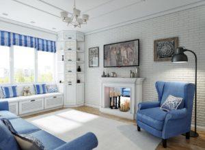 Мебель голубого цвета в гостиной в стиле прованс