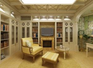 Гостиная в стиле прованс с книжными шкафами