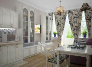 Кухня в стиле прованс с застеклёнными посудными шкафами