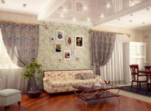 Интерьер в стиле прованс со сложным подвесным потолком