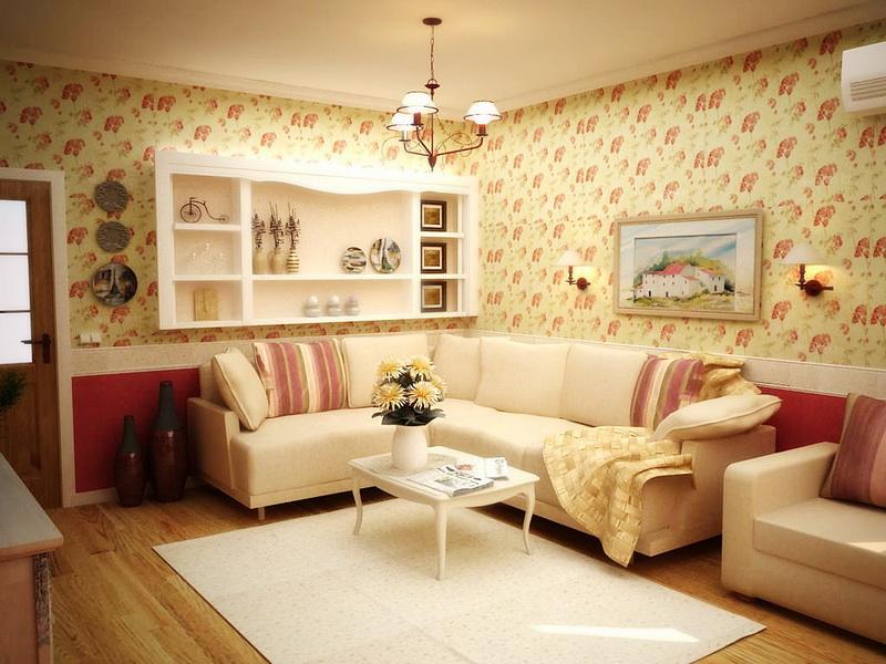 Открытые полки с декоративными такрелками и картины украшают гостиную в стиле прованс