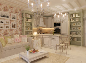 Гостиная, совмещённая с кухней с двумя открытыми посудными шкафами