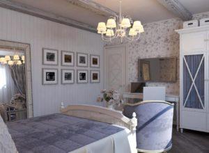 Спальня в стиле прованс в бело-лавандовых оттенках