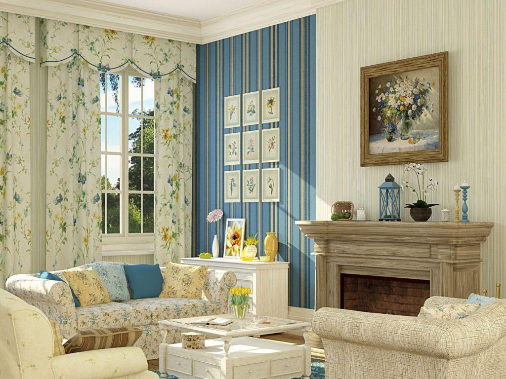 Зонирование в гостиной в стиле прованс произведено за счёт исполльзования обоев различных цветов
