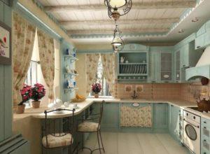 Голубая кухня прованс с дощатым потолком и балками