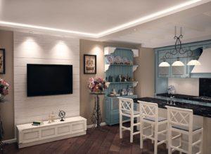 Чёрные мраморные столешницы в кухне бело-голубых цветов в стиле прованс