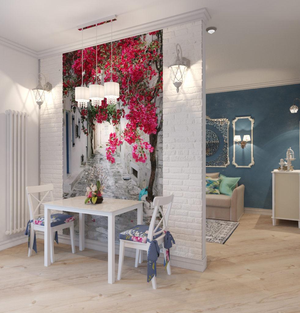 Квартира-студия в стиле прованс с фотообоями и зоной для сна серо-голубого цвета