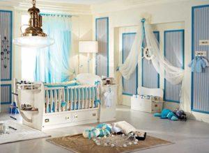 Морской стиль в комнате новорожденного