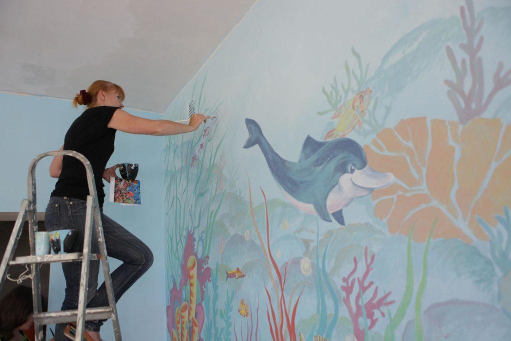 Оформление стен в детской комнате морской тематики