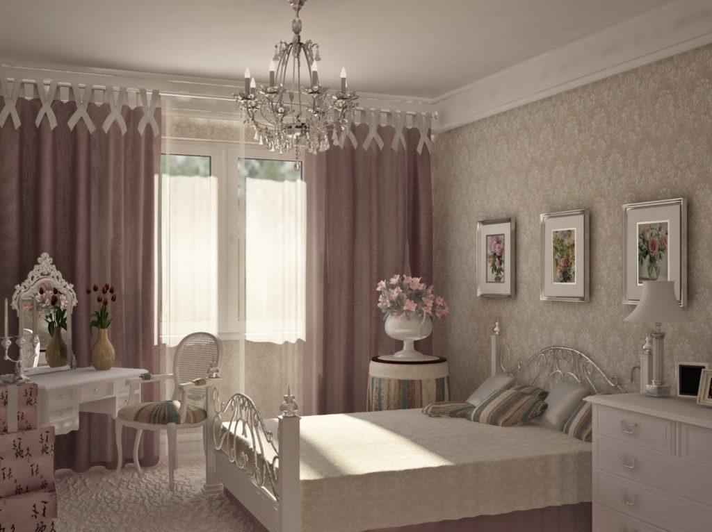 Кровать с кованым ажурным изголовьем в спальне в стиле прованс