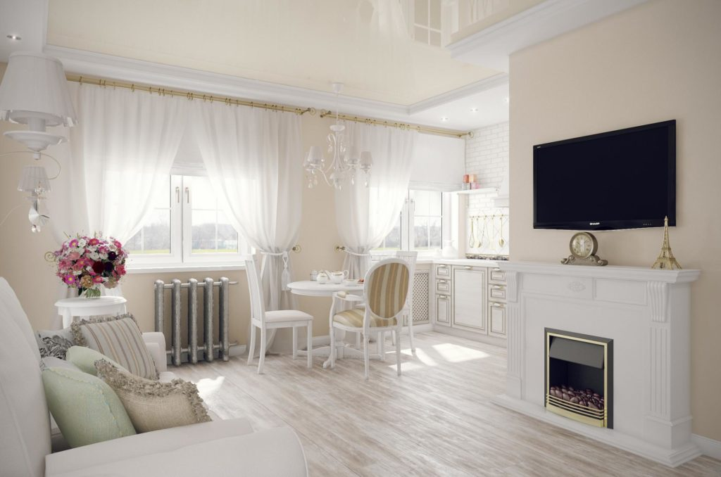 Гостиная в бело-бежевых тонах в стиле прованс