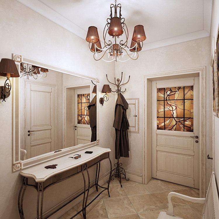 Прихожая прованс с оригинальным туалетным столиком с кованными ножками