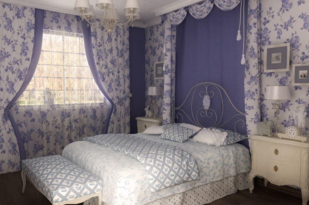 Спальня в стиле прованс в бело-голубых тонах