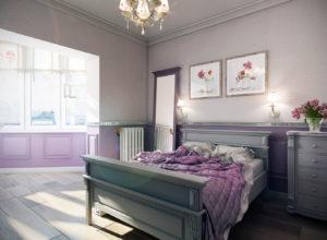 Обои с мелким риусунком в спальне в стиле прованс