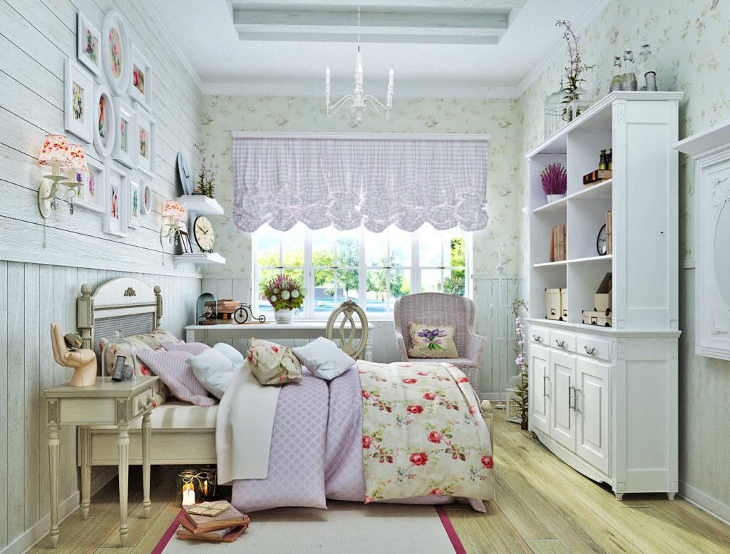 Спальня в нежно-голубых тонах в стиле прованс